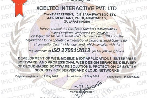 XcelTec – ISO 270012013 Certified Company