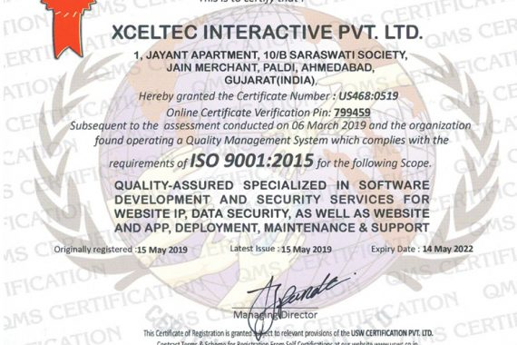 XcelTec – ISO 9001-2015 Certified Organization