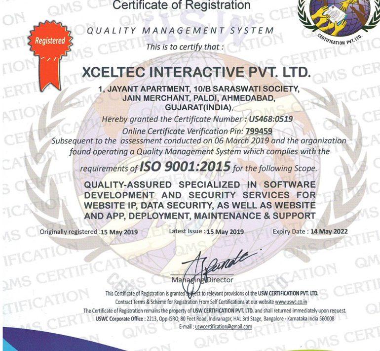 XcelTec – ISO 9001-2015 Certified Organization